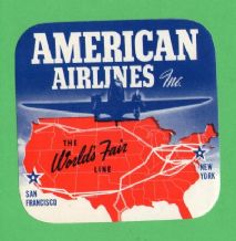 RARE Airline label luggage labels World's Fair AA